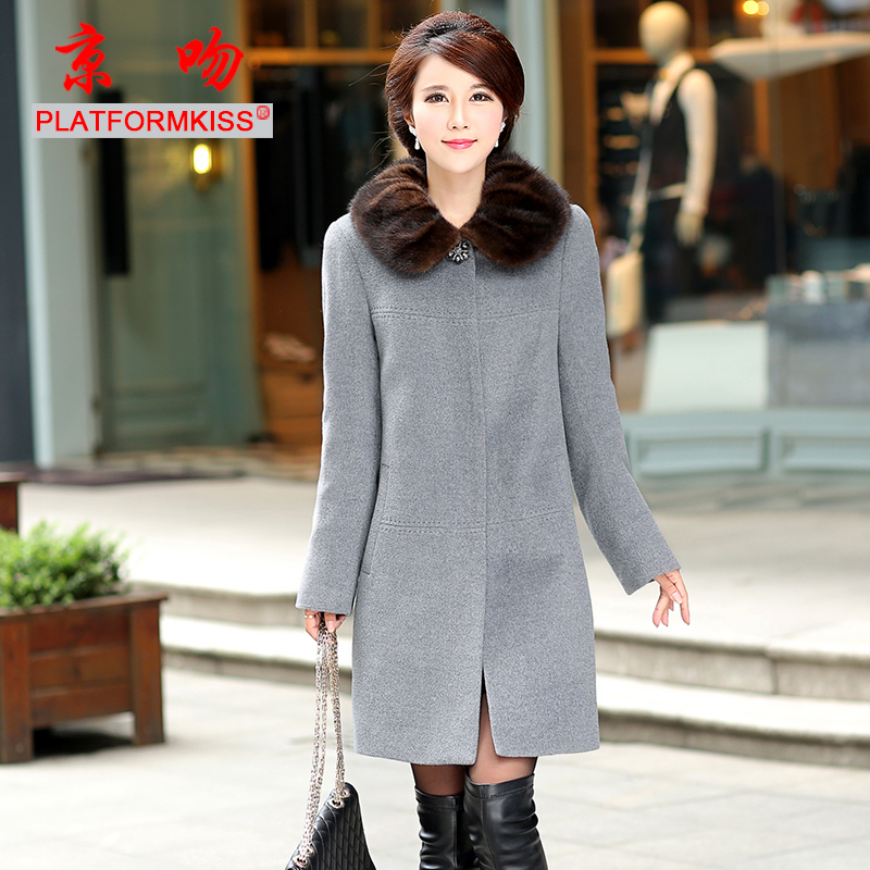 Beijing kiss nick clothing female mink fur liner rex detachable fur collar and long sections genuine fur