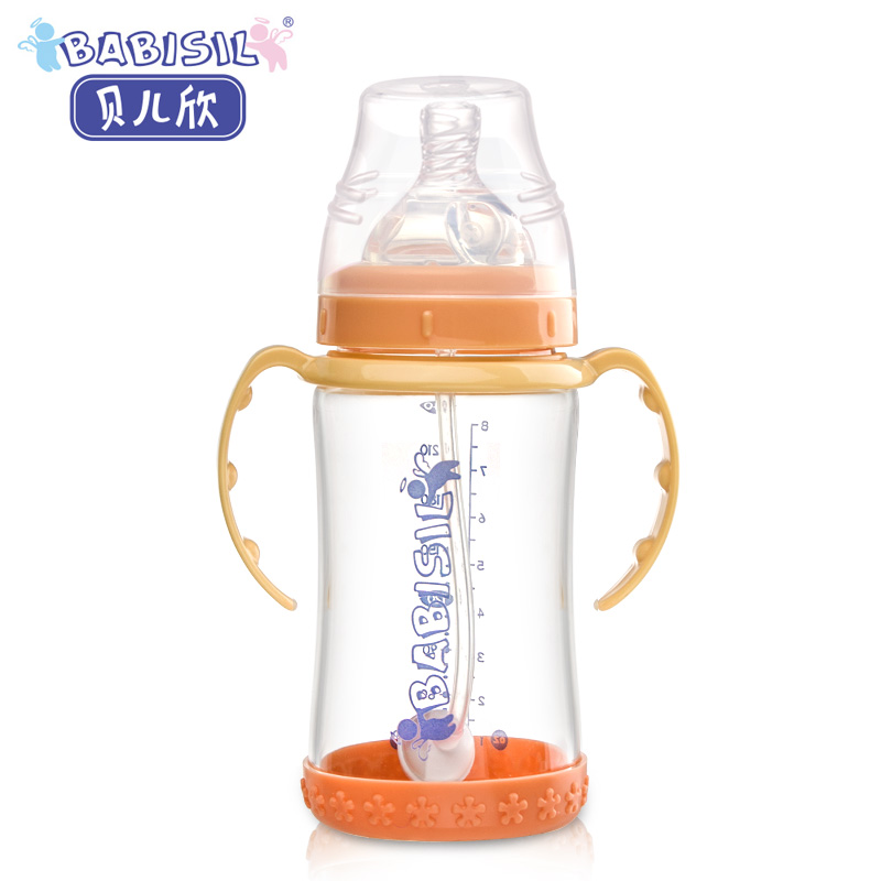 Belle yan new baby bottle wide mouth glass bottle baby bottle with straw handle