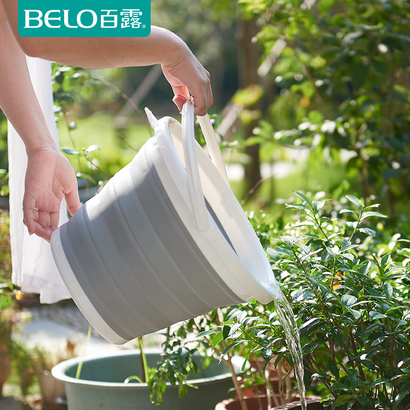 Belo/dew new collapsible bucket cleaning household trash barrel storage folding bucket car wash bucket car to save space