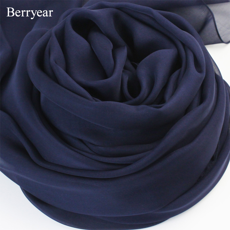 Berryear aristocratic temperament blue solid color silk scarf female spring and autumn long section of dark blue dark blue silk scarf