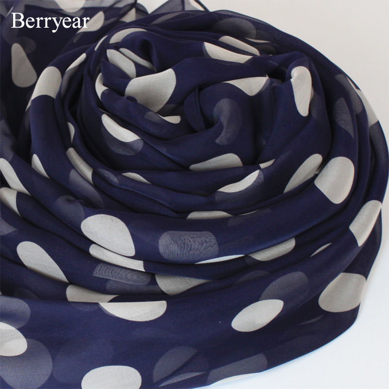 Berryear dark blue large polka dot silk scarf long paragraph silk scarf shawl dual female spring fall and winter
