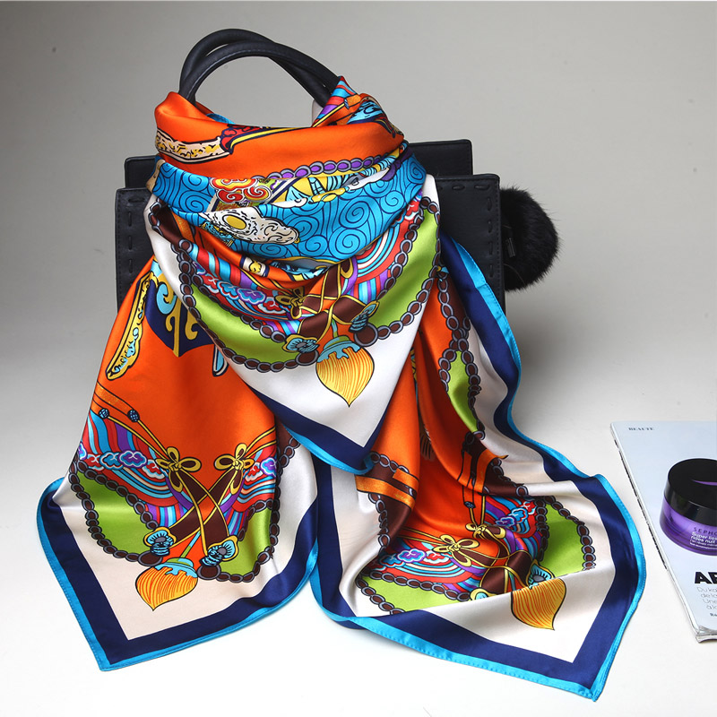 Best sleep silk scarf female spring and summer wild silk scarf silk scarf female silk scarf korean version of the large square towel