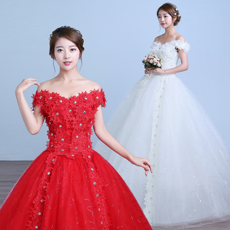 Big red wedding dress 2016 new korean qi word shoulder wedding dress retro slim was thin korean style wedding dress straps
