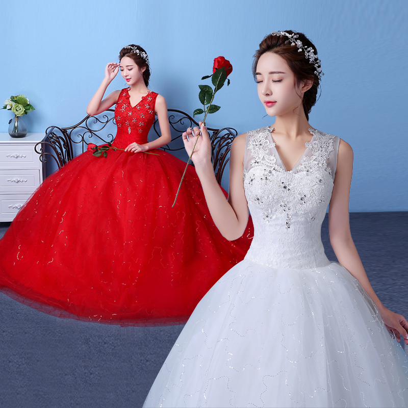 Big red wedding dress 2016 new korean qi word shoulder wedding dress wedding korean style wedding dress was thin slim