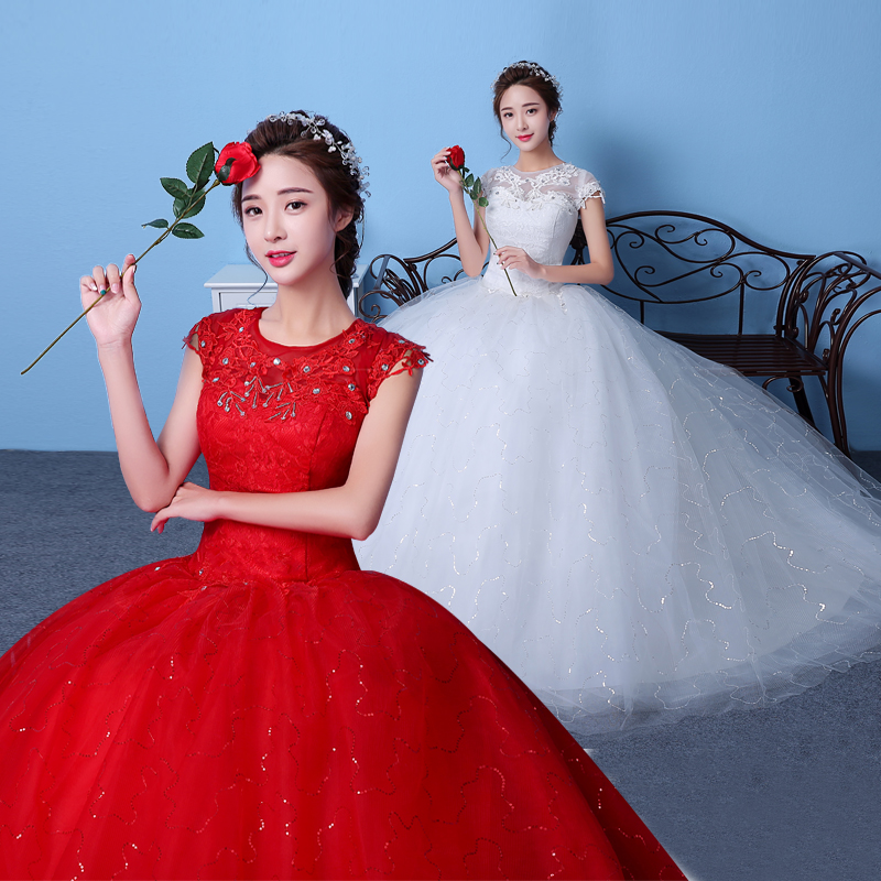 Big red wedding dress korean bride wedding word shoulder wedding dress luxury big winter new big yards palace