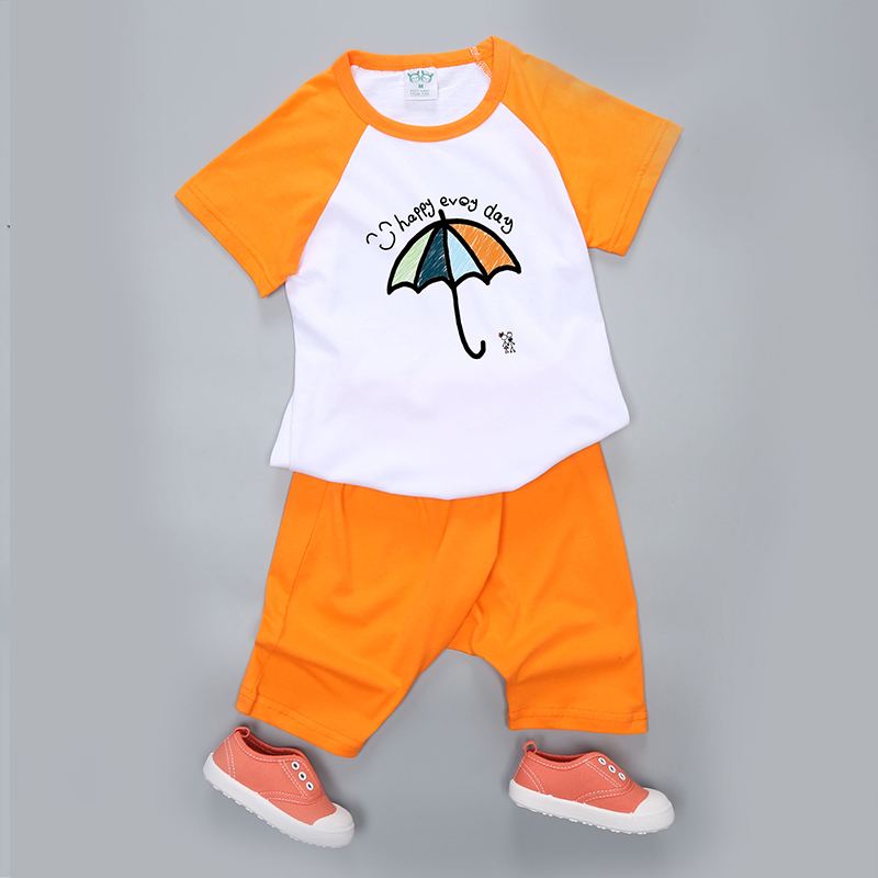 Big virgin boy summer suit 2016 new children's clothing girls cotton t-shirt piece harem pants 3 years old 5 years old children