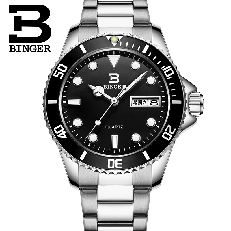Binger accusative watch men watch luminous watch steel belt fashion trend diving watch men watch retro male table quartz watch men with disabilities