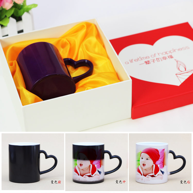 Birthday gift hot water in the words of the heart of the green creative color cup mug with lid ceramic cup magic cup