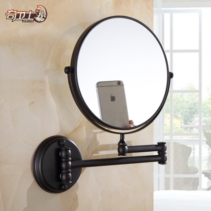 Black antique copper bathroom wall mirror bathroom mirror cosmetic mirror telescopic folding sided mirror 8 inch