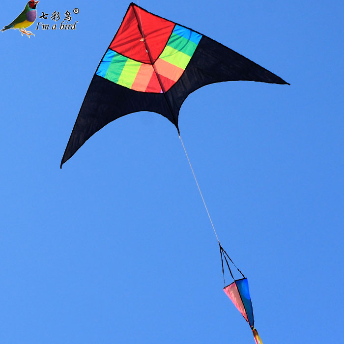 Black color triangle weifang kite kite flying good breeze kite flying kite striped red head