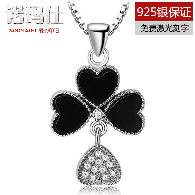 Black day agate lucky clover 925 silver necklace pendant female korean fashion short paragraph clavicle chain with jewelry