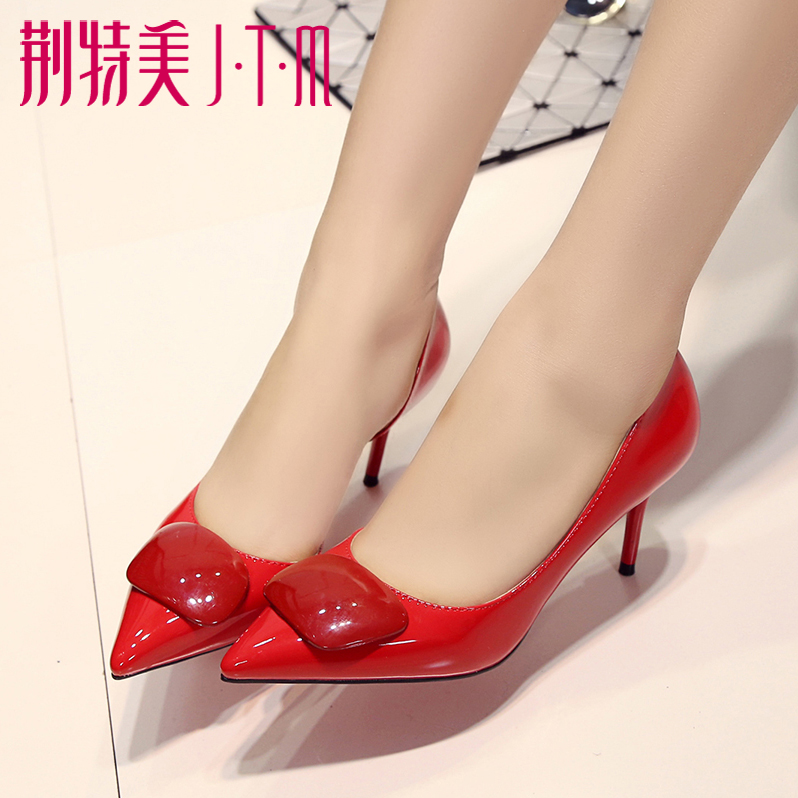 Black high heels shoes career elegant wild sexy shoes spring shoes female shallow mouth pointed shoes bridal wedding shoes
