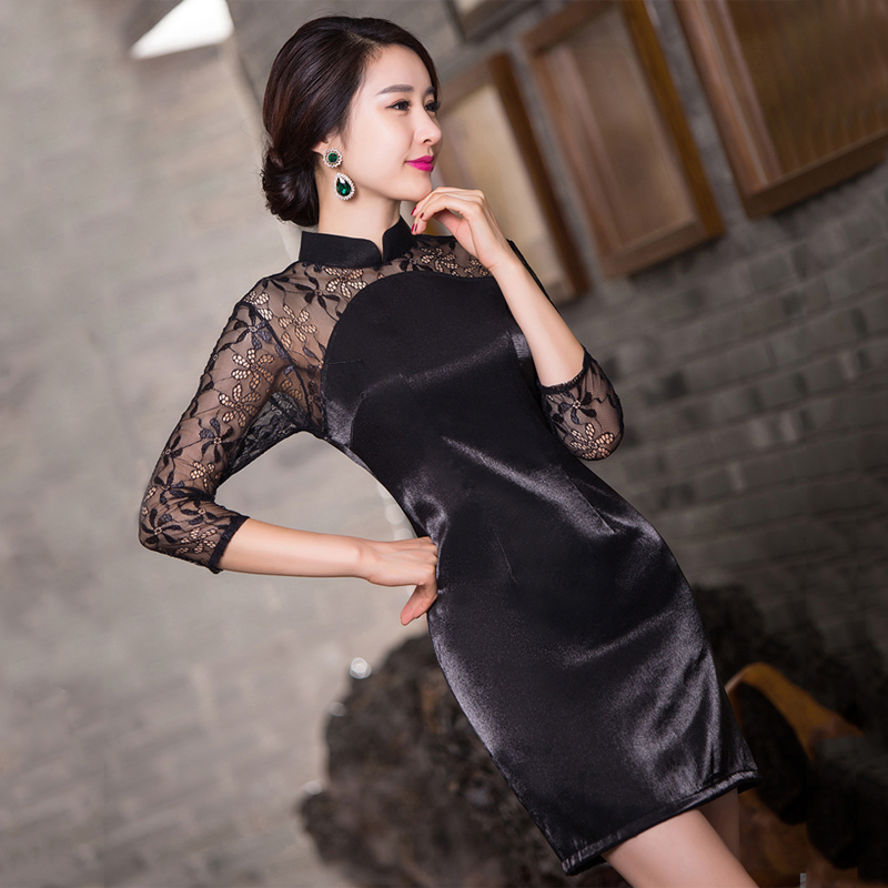 Black lace dress 2016 summer new improved daily short paragraph slim was thin chinese ritual nightspots qipaos