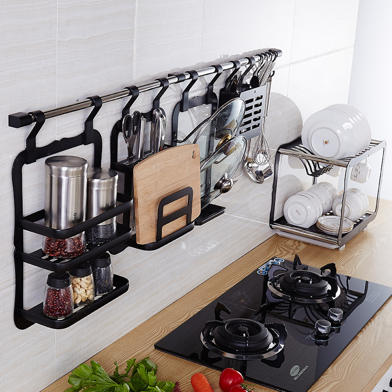 Black multifunctional space aluminum kitchen accessories kitchen wall racks seasoning rack hanging rod rack combination