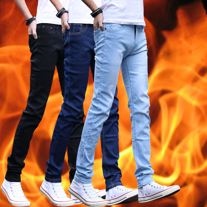 Black stretch jeans korean slim plus velvet jeans men's casual significantly thin leg jeans pants influx of men