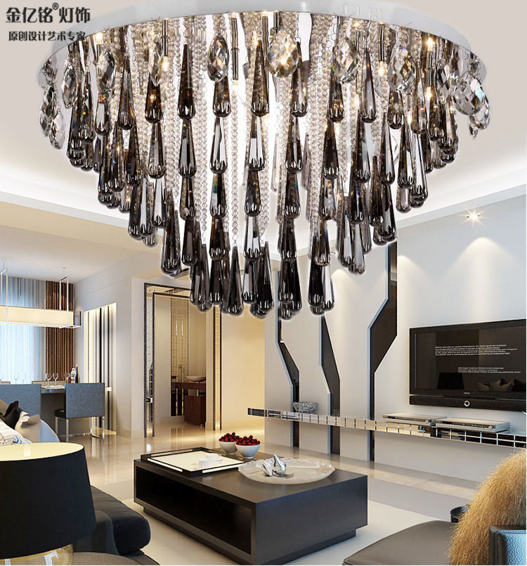 Black swan european gray smoke crystal light led ceiling living room bedroom lamp restaurant lighting lamps top suction 8265