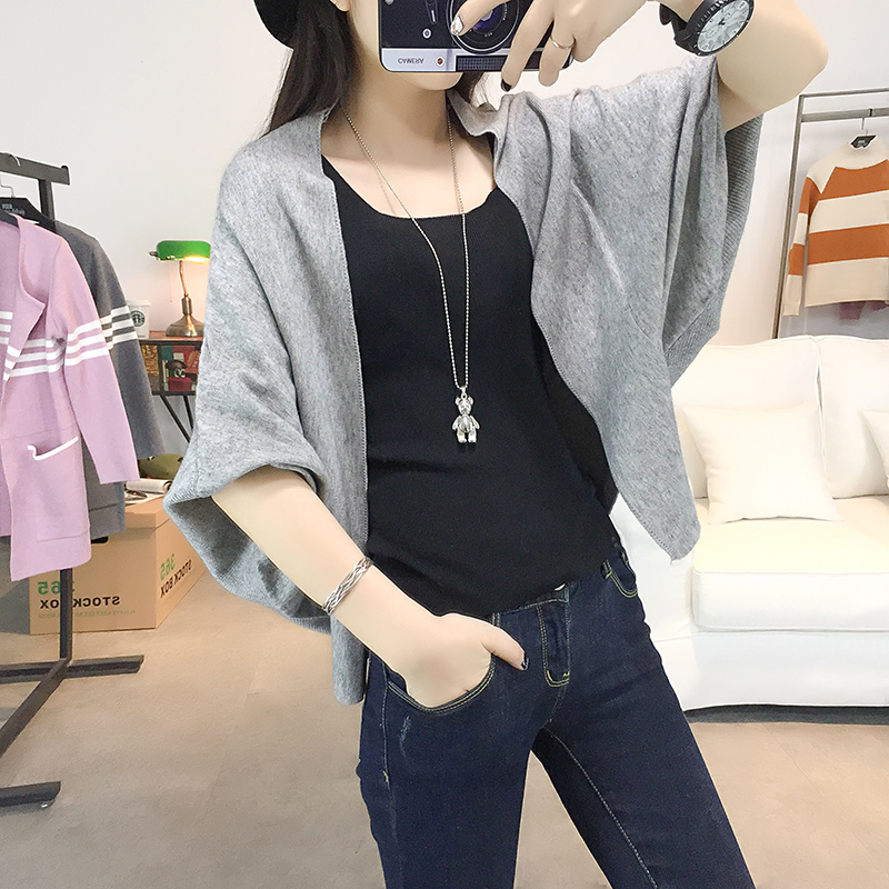 Black sweater autumn sweater approved shoulder loose bat sleeve 7 points  sleeve cardigan outside the ride 0d22845da