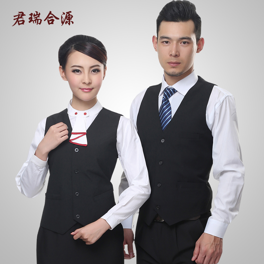Black vest vest hotel ktv hotel waiter overalls vest vest three sets of hotel uniforms summer