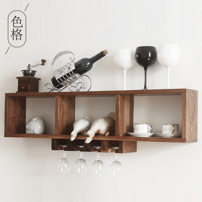 Black walnut wood dining room continental shelf creative wall hanging wall wine rack cup holder cup american solid wood wine