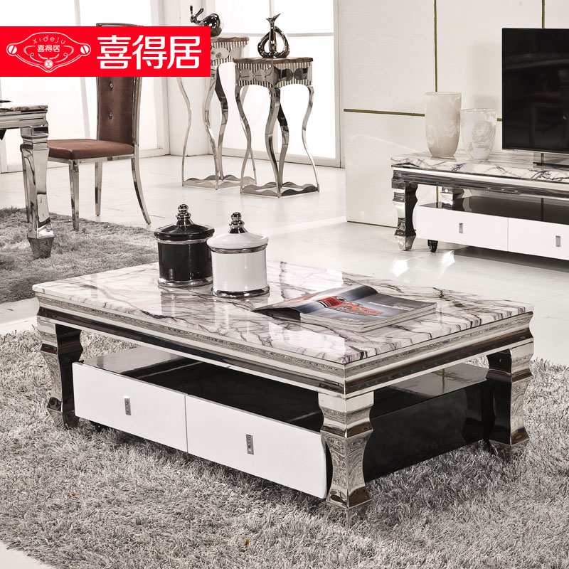 Blessed with habitat furniture modern minimalist coffee table stainless steel coffee table marble coffee table tv cabinet combination of small coffee table tea table tea sets
