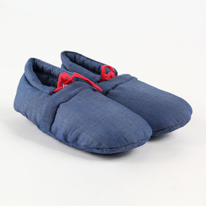 Blossoming cocoa winter shoes simple and comfortable home cotton slippers soft bottom denim blue size