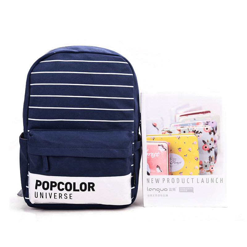Blue fruit 2016 popular color shoulder bag striped canvas bag korean version of male and female students simple fashion models upscale authentic