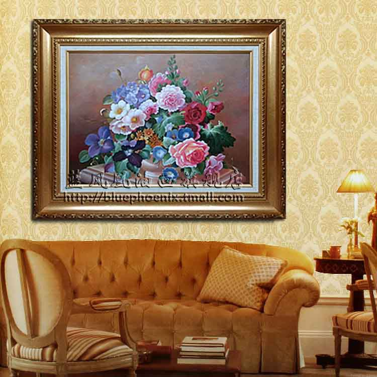Blue phoenix painted oil painting villa restaurant is decorated living room modern european classical flower painting framed painting realistic  a2