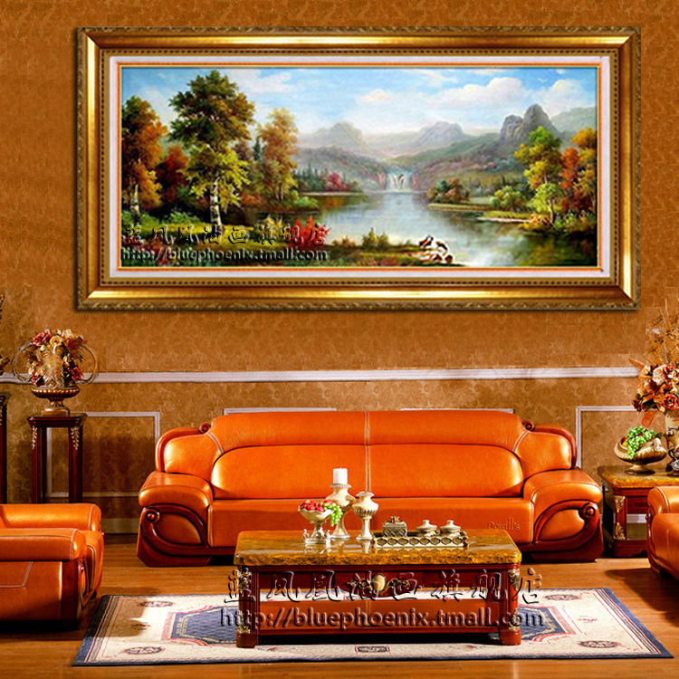 Blue phoenix pure european landscapes painted oil painting ã ã enrichment valley villa living room decorative painting framed free Shipping