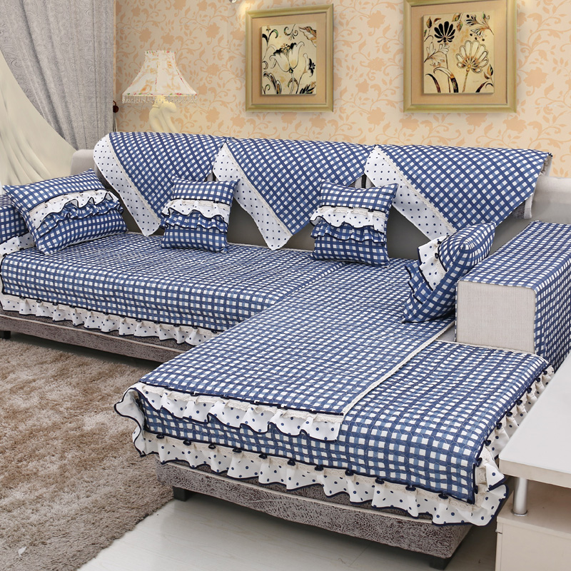Blue plaid pastoral quilted fabric sofa cushion slip sofa cushion cover cushion cover pillow cover