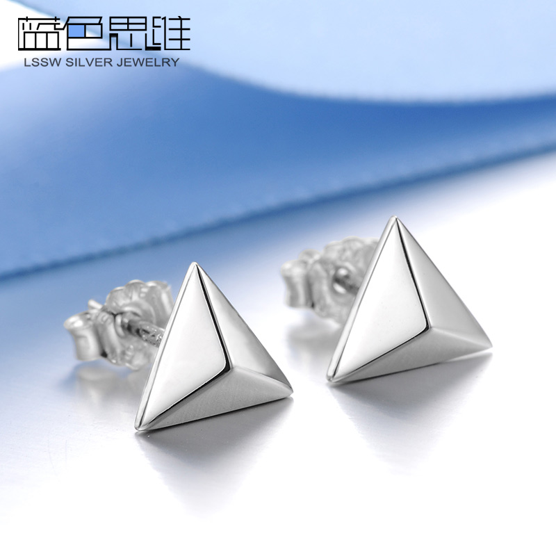 Blue thinking s925 silver earrings female korean fashion temperament korea hypoallergenic silver earrings japan and south korea small jewelry accessories