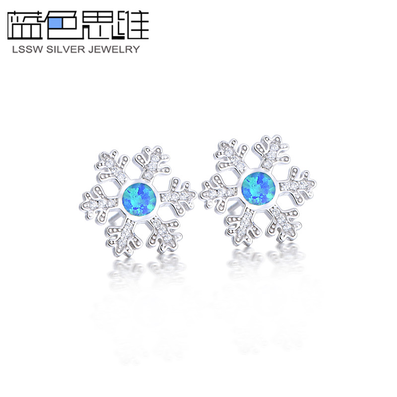 Blue thinking s925 silver snowflake earrings female dayé©å°æ¸…new snowflake earrings female jewelry earrings to send gifts