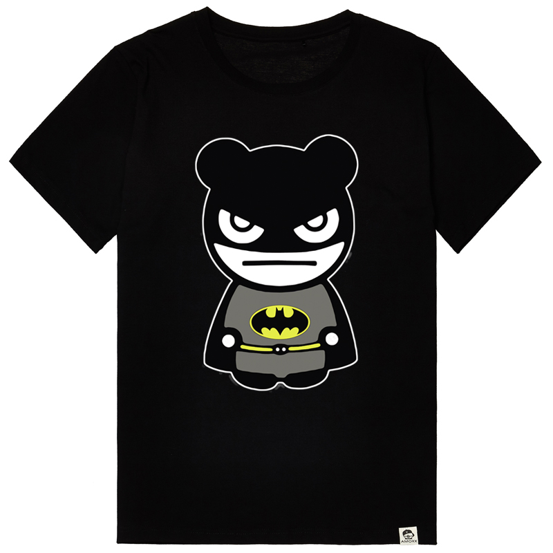Bm-star big yards cartoon batman superman t-shirt men short sleeve men's summer xl loose cotton wide