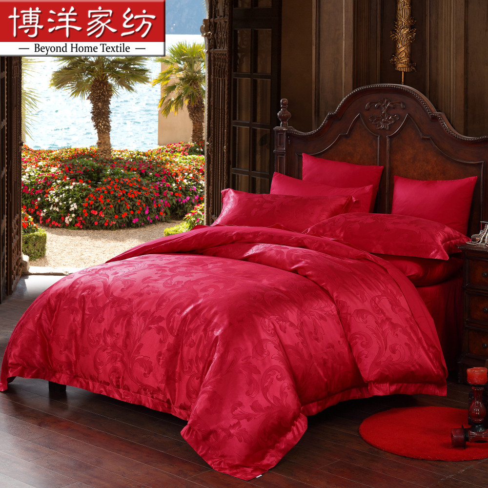 Bo yang textile cotton jacquard denim wedding big red wedding bedding vows of love
