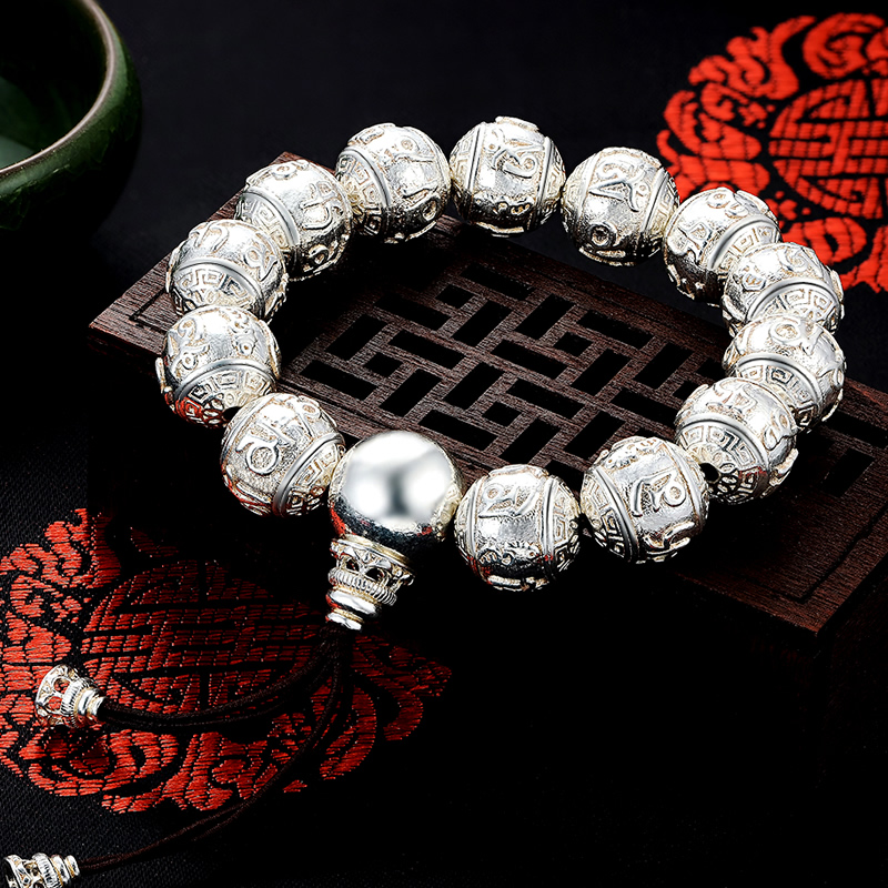 Bo yin mantra beaded bracelet silver bracelet silver beads beaded bracelet to send long generation gift gift to send to friends