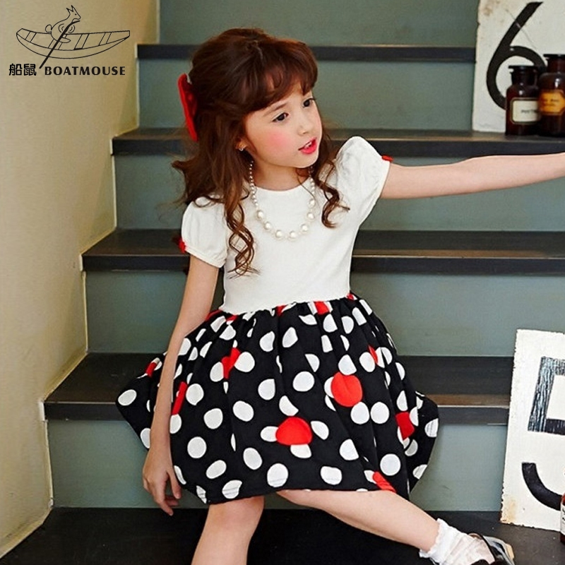 Boat rat girls dress summer dress stitching polka dot kids children's short sleeve dress 2016 korean version of the beads