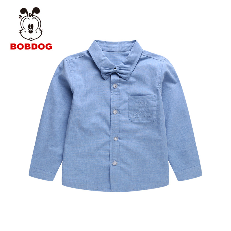 Bobdog 2016 autumn korean version of the influx of small children baby kids boys shirt long sleeve shirt solid color rendering
