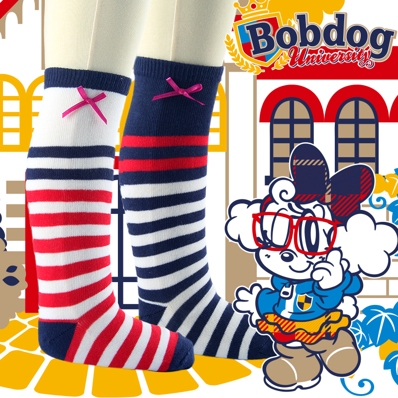 Bobdog girls knee high socks striped stockings girls in tube socks cotton socks spring and thin section baby socks high socks in tube socks baby