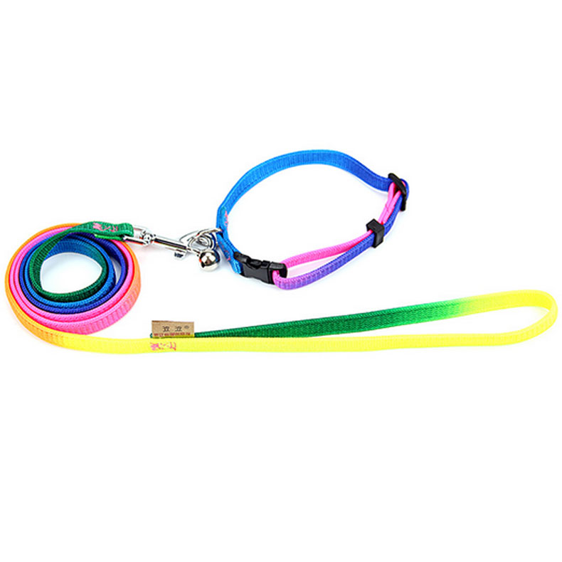 Bobo bobo colorful pet collar with a small bell teddy pet leash dog leash belt retractor