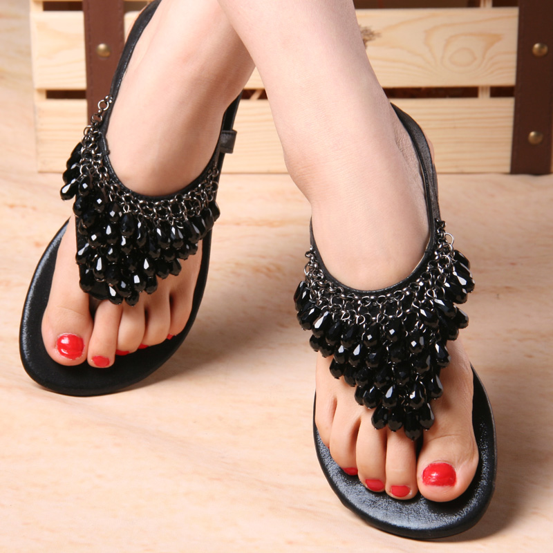 0d913593153652 Get Quotations · Bohemian sandals summer black pendant sweet student flat  with rhinestone beaded flat thong flip shoes