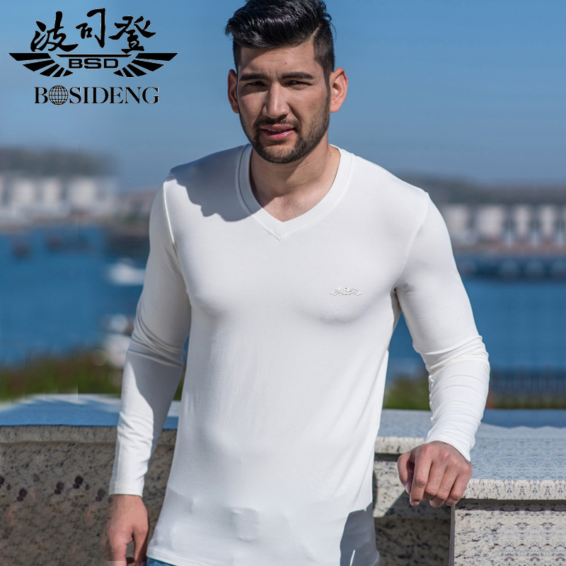 Bosideng autumn clothes new long sleeve t-shirt men thin section v-neck solid color casual clothes big yards slim bottoming shirt t-shirt