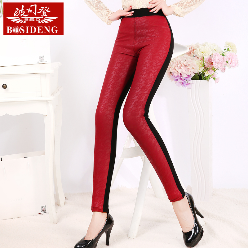 Bosideng autumn ladies pu leather pants one plus velvet thin section ab surface leather lace leggings trousers pants feet