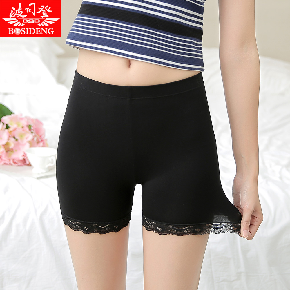 Bosideng female summer safety pants anti emptied thirds leggings safety pants lace shorts modal anti go light