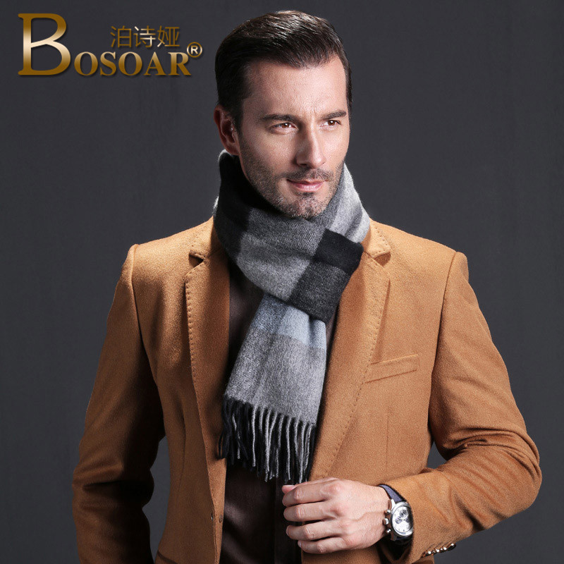 Bosoar2016 new autumn and winter men's fashion business paul warm plaid cashmere scarf long scarf