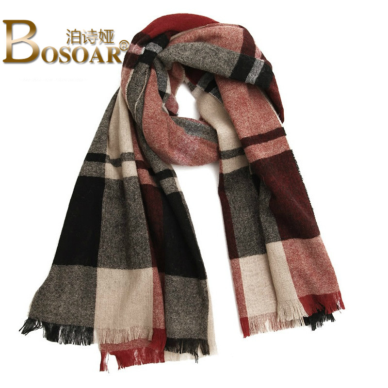 Bosoar2016 new fashion ladies long section of thick warm plaid wool scarf lady scarf