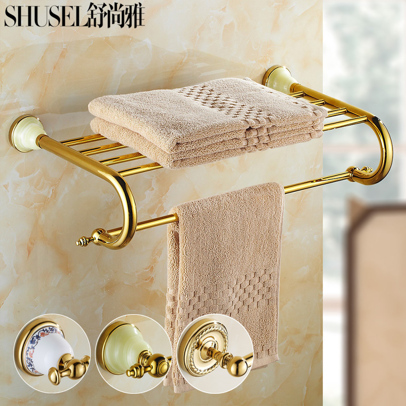 Bowlder decorative golden continental towel rack towel rack full of copper antique bathroom accessories bathroom hardware kit