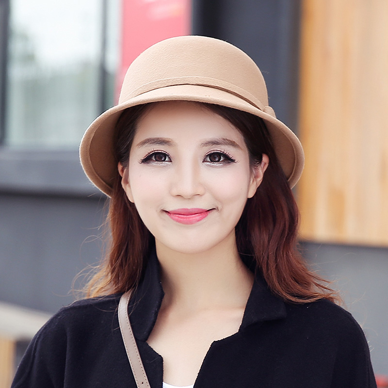 Get Quotations · Bowler hat female autumn and winter wild outing youth  curling woolen hat bow bucket hats korean a34ef0f01687