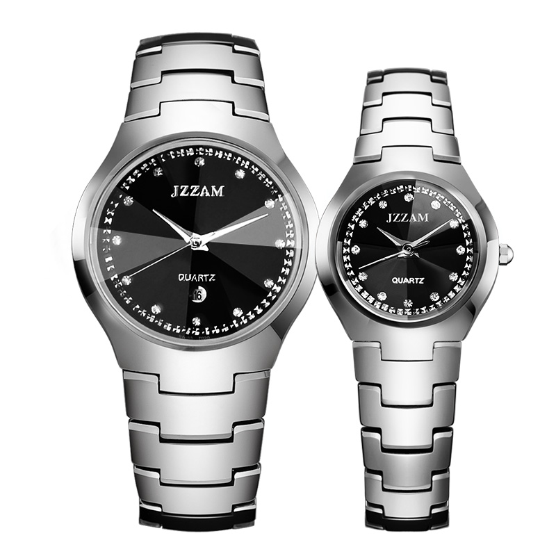 Brand hot fashion genuine couple watches waterproof one pair of tungsten steel watch men's business casual round gift watches