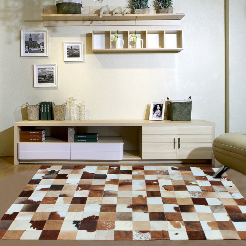 Brazilian imports of natural fur cow leather carpet continental stitching cowhide rug carpet modern living room bedroom