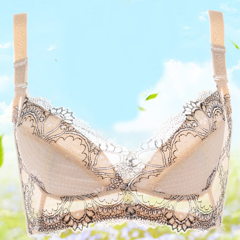 49e42a13a2388 Get Quotations · Breathable thin section no rims bra large size large chest gather  adjustable padded cup thin cup