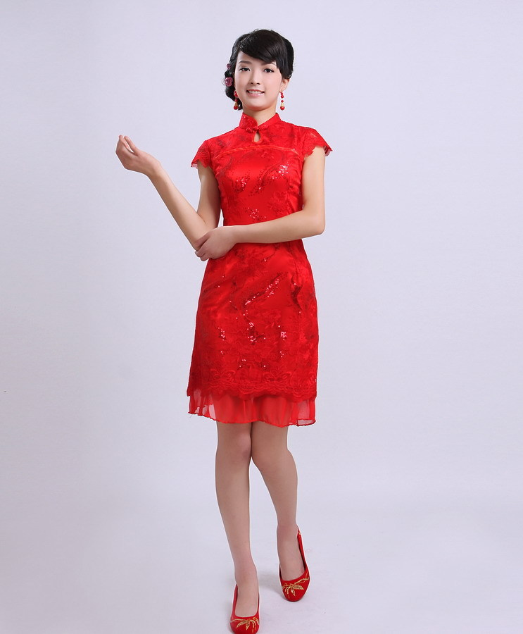 Bridal dress wedding dress 2015 spring new small impatiens bride cheongsam cheongsam dress summer paragraph short paragraph bridal wear red